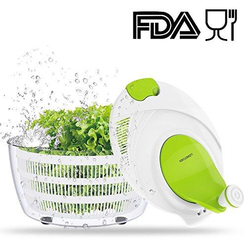 Salatschleuder Trockner, lovkitchen Kochen Grips Salatschleuder-Großes Fassungsvermögen, BPA-frei zertifiziert, einfach Spin für schmackhafter Salate & spülmaschinenfest