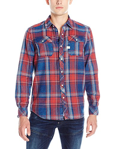 G-STAR RAW Landoh Shirt l, Camicia Uomo, Blau (Indigo/Antic Red Check 6322), S (Taglia Produttore S)