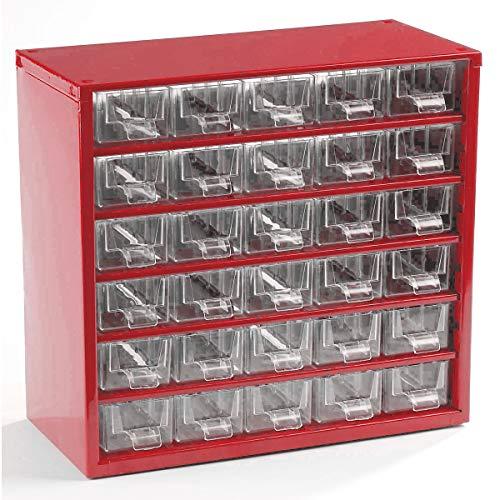 Certeo Schubladenmagazin aus Stahl | HxBxT - 282 x 306 x 155 mm | 30 transparente Schubladen | Gehäuse kaminrot | Kleinteilemagazin Klarsichtmagazin