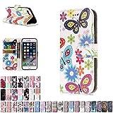 LA-Otter Coque Apple iPhone 7 8 Papillon Coloré Flip Case Housse Etui à Rabat Folio...