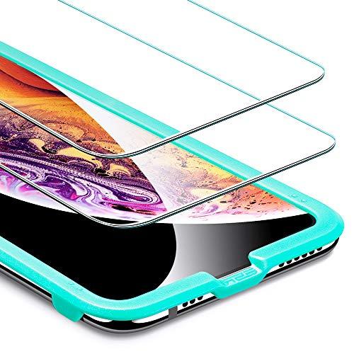 ESR Protector Pantalla iPhone XS/X [2 Piezas] [Kit de Instalación] [Garantía de por Vida] Cristal Templado 9H Dureza [3D Touch Compatible], Anti-Huella para Apple iPhone X/iPhone XS DE 5.8'