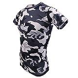 Gazechimp Top Camouflage Haut Pour Homme Militaire Dessin T-Shirt Manches Longues Col Rond Garçon Vêtement - Gris, M