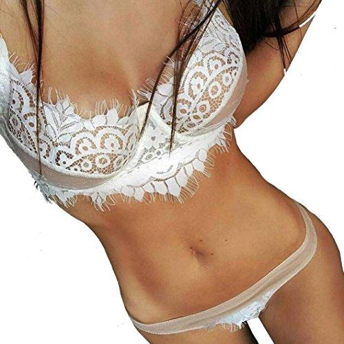 Ensemble de Lingerie, Manadlian Lingerie féminine Corset Lace Bandage Push Up Top Bra + Pants Set de sous-vêtements Blanc