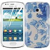JAMMYLIZARD | Garten Back Cover Hülle mit Muster für Samsung Galaxy S3 Mini, CHINA BLAU