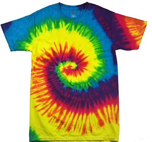 Colortone - Unisex Batik T-Shirt 'Rainbow' / Rainbow, (Tie Dye Hippie Kostüm)