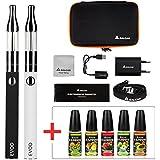 Salcar® Cigarrillo electrónico EVOD Mini Protank de doble kit de iniciación+ 5x10ml Set E-Líquido - Vaporizador de 1,8ml, batería recargable de 1100mAh, 0,00mg Nicotina (nergo+blanco)