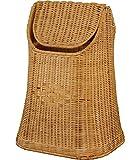 Papierkorb aus Rattan geflochten mit Schwingdeckel Farbe Honig, Abfallkorb aus natürlichem Rattan