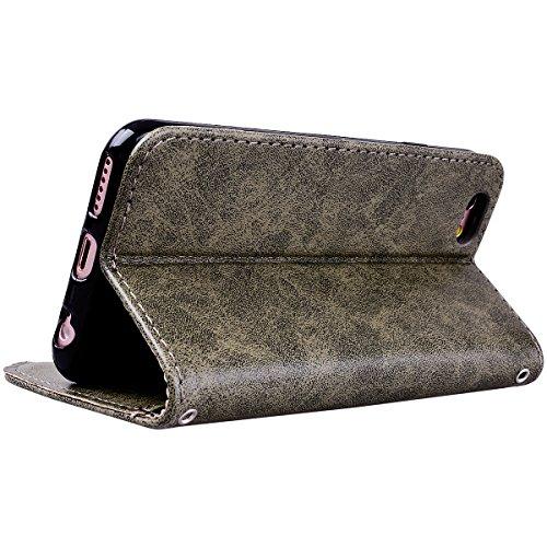 Yokata iPhone 6 / iPhone 6s Hülle Leder Premium Handyhülle Handy Schutzhülle Flip Case Wallet Tasche Handytasche mit Kartenfach Ständer Halter und Magnetverschluss Brieftasche Etui Schale Weiche Silik Grau