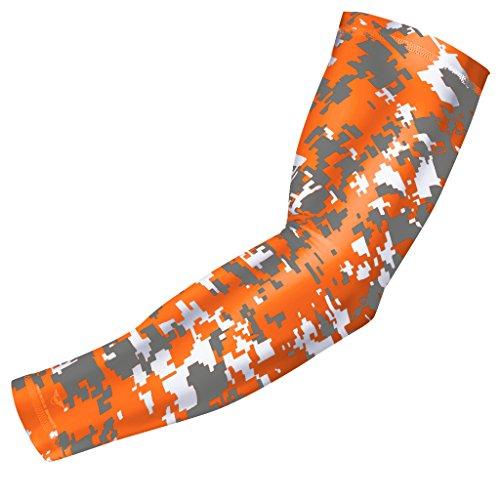 bucwild Sport Compression Arm Sleeve-Jugend und Erwachsenen Größen-Baseball Fußball Basketball Sports (1Arm Sleeve), Orange Gray Digital Camo (Orange Basketball-arm-sleeve)
