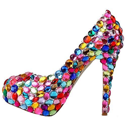 scarpe di cristallo donne sottili tacchi alti diamante colorato handmade pelle di nozze party nightclub party pompe sandali . picture color . 36