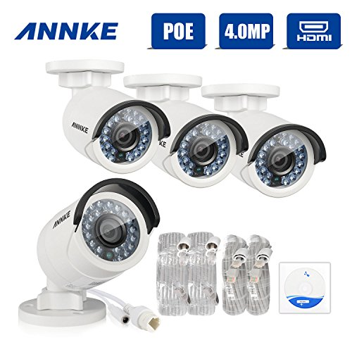 ANNKE 4 x 4MP H.264+ POE 3D Sicherheitskamera 4 Megapixel IP Kameras Überwachungskamera VCA Video Bullet Nachtsicht ROI bis zu 30 Meter IP 66 Wetterfest -