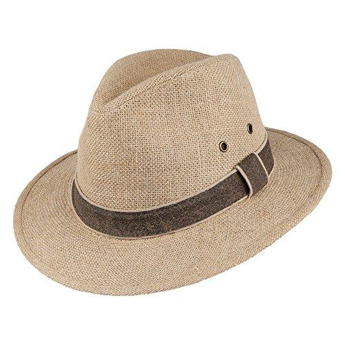 Village Hats Chapeau Safari en Chanvre Beige Dorfman-Pacific - Beige - Large