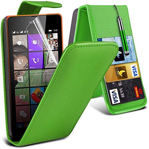 ONX3® (Grün) Microsoft Lumia 540 Dual Sim Hülle Abdeckung Cover Case schutzhülle Tasche Custom Made Fall nach Maß PU Leder Schlag mit Kredit / Bankkarte Slot Kasten Haut Abdeckung mit LCD Display Schutzfolie, Poliertuch und Mini versenkbaren Stylus Pen