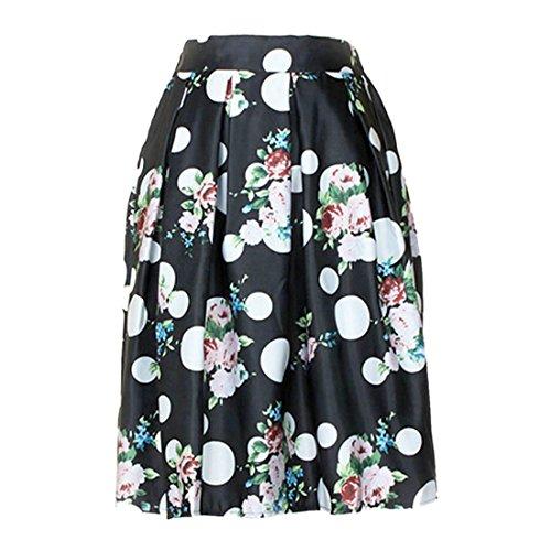QIYUN.Z Retro Frauen Hohe Taille Polka Dot Floral Bedruckten Midi Jupe Gefaltetes Kleid Röcke Schwarz