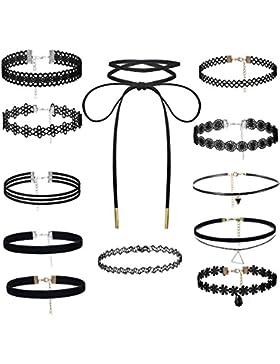 Besteel 8-12 Choker Samt Halsband Spitze Halskette Samtkropfband für Damen und Mädchen Schwarz verstellbar