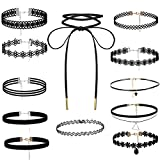 BE STEEL Besteel 12 Pro Set Choker Samt Halsband Spitze Halskette Samtkropfband für Damen und Mädchen Schwarz verstellbar