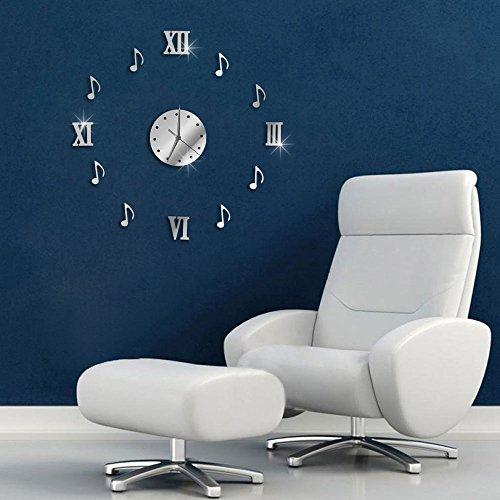 Vetrineinrete® orologio a parete adesivo sticker componibile tridimensionale 3d effetto specchio moderno decorazione murales note musicali e numeri romani 1548s