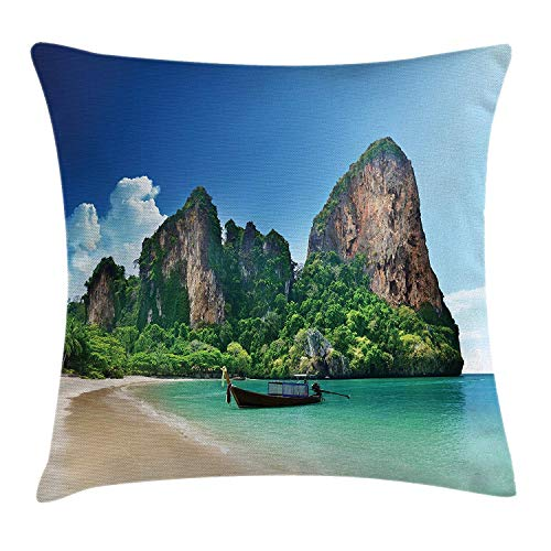 r Throw Pillow Cushion Cover, Railay Beach in Krabi Thailand Small Boat Crystal Water Rock Cliff Landscape, Decorative Square Accent Pillow Case, 18 X 18 inches, Bule Green ()
