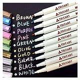 Profi Metallic Stifte Set für Fotoalbum, Scrapbook, Glatte Oberflächen | 10 Metallic Marker Pens | Tritart