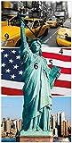 Wallario Design Wanduhr New York Collage aus Acrylglas, Größe 30 x 60 cm, Schwarze Zeiger
