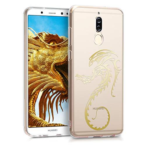 kwmobile Funda para Huawei Mate 10 Lite - Carcasa Protectora de [TPU] con diseño de dragón en [Dorado Transparente]