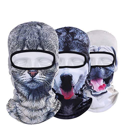 LCLrute Multifunktionstuch Gesichtsmaske,Tier im Freien Ski Masken Bike Cyling Beanies Winter Wind Stopper Gesicht Kappen 3D Waschbar, Wasserdicht, Atmungsaktiv (Tier Halloween Stirnbänder)