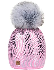 MFAZ Morefaz Ltd Girls Winter Beanie Hat Knitted Hats Girl Kids With Large Pom Pom Ski Fleece Lining