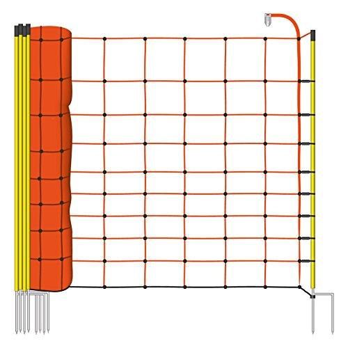 *50m Elektrozaun-Netz von VOSS.farming, 108cm, 2 Spitzen, gelbe Pfähle Schafzaun Elektrozaun Weidezaun*