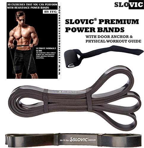 SLOVIC Resistance Band/Pull Up Band/Resistance Bands 42 Inch with Door Anchor for Calisthenics with Physical Booklet with 30 Exercises.(Black(25-65 LBS)).