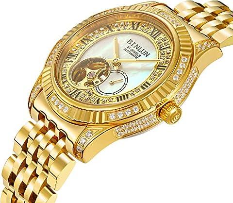 binlun Herren-Armbanduhr 18K Gold Gents Tourbillon Skelett Mechanische automatische Uhren mit Luxus Diamanten