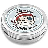 Milchzahndose | Pirat Pepe | für Mädchen und Jungen | Geschenk zur Einschulung, Taufe, Geburt | Zahnfee Dose aus Metall für Wackelzahn (Blau)