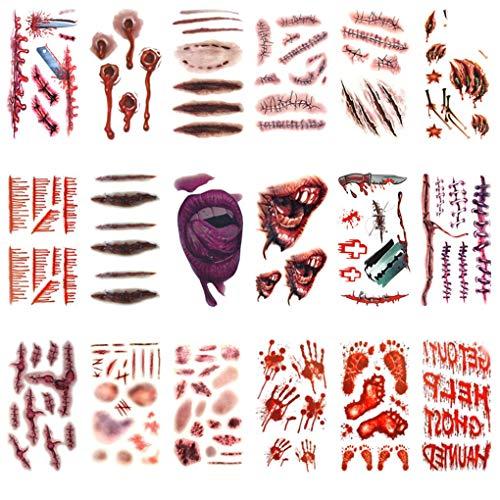 er Halloween Terror Wound Realistische Blut Injury Scar Fake Tattoo wasserdicht temporäre Bluten-Körper-Arm-Aufkleber ()