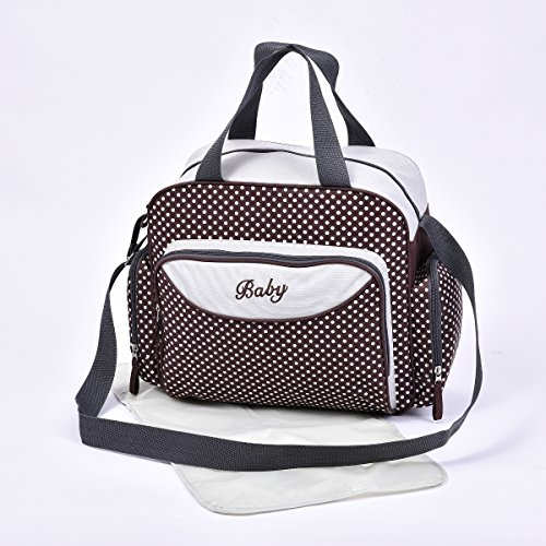 Baby Nappy Diaper Changing Bags Grey/Polka Dots Design 6600 (6600 Brown)