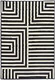 Moderner schwarz-weißer Teppich Lifestyle 23 black geometrisches Streifenmuster (150 x 210 cm)