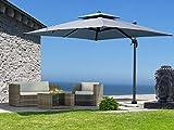 QUICK STAR Ampelschirm Premium Mallorca 3x3m Grau UV 50 Terrassenschirm Sonnenschirm