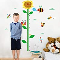 ZWXDMY Height Measurement Wall Sticker,Cartoon Sunflower Ladybug Butterfly Insect Removable Family Living Room Bedroom Nursery Child Growth Art Deco Fashion