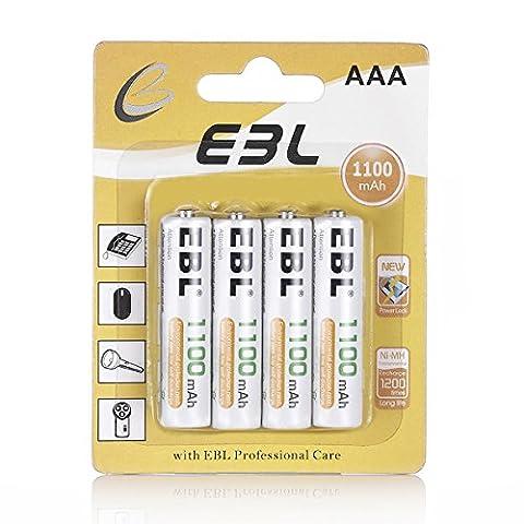 EBL 4 Pack Rechargeable AAA Batteries, 1100mAh Ni-MH AAA