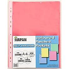 Arpan - Buste perforate, formato A4, 104 pezzi, colore: Trasparente