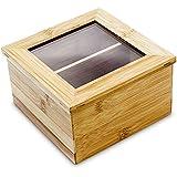 Relaxdays 10018874_340 - Caja de té, bambú, tapa con ventana