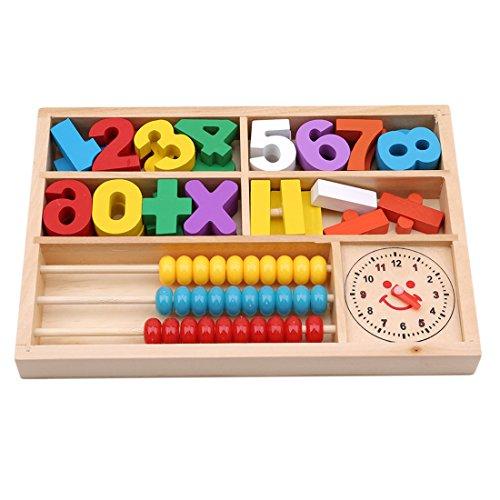 72f6eb3b26cd VWH Bois Jouet Montessori Début D apprentissage Numérique Boîte  Arithmétique Mathématiques Horloge Bois Abacus Jeu