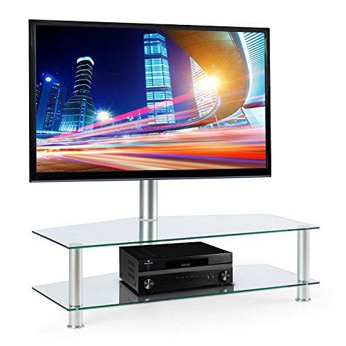 electronic.star FAVS19 • TV-Halterung • Fernsehtisch • Glastisch • 2 Glasetagen • 8 mm Sicherheitsglas • stabile Aluminium-Elemente • Halterung schwenkbar • rückseitige Kabelführung • VESA-Standard • Fernseher von 37 - 50 Zoll • bis 50 kg • silber