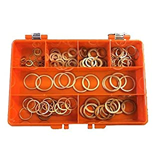 Premium Metric Copper Washers Kit Made Of High Grade Copper Containing 7 Popular Sizes For Engineers, Electricians, Mechanics & DIY Use