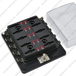 10 Way Blade Fuse Box / Holder Bus Bar With LED Failure Warning 12V 24V