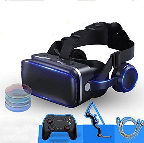 YDZSBYJ VR-Brille 4D Kopf Montiert, 360 HD 3D Virtual Reality Helm, RV Stereo Spiel/Film, Oppo/Huawei/Vivo/Apple (Farbe : Black) - Rv-brille