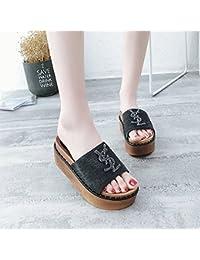 Zapatillas de Tacón Alto y Parte Inferior Gruesa, Toallas para Mujer y Remolque en Frío