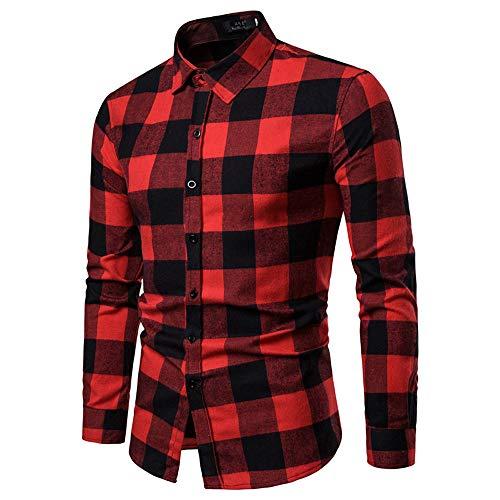 Longra camicia casual da uomo addensare stampa a quadri camicetta a maniche lunghe flanella camicetta autunnale magliette leggere sweatshirt slim fit