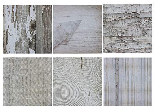 Designer-Papierblock - 48 Blatt doppelseitig, Vintage-Holzstruktur, 6 rustikale Designs für Scrapbooks, Fotocollage, Klassenzimmer-Projekte, Fotoalben, 30,5 x 30,5 cm, schweres Papier, 120 g/m² (Shabby Chic Scrapbook-papier)
