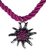 Trachtenschmuck Trachten Damen Halskette Halsband Band Kette Edelweiss Anhänger mit Steinen passend zum Dirndl Bluse Kniebundhose Lederhose Oktoberfest Wiesnfest Model-3 (pink)