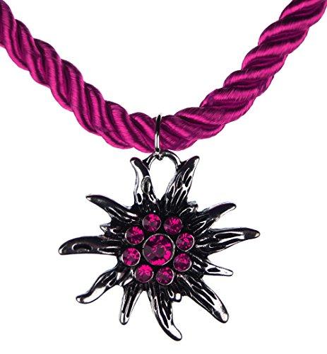 Trachtenschmuck Trachten Damen Halskette Halsband Band Kette Hirsch Herz Edelweiss Anhänger mit Steinen passend zum Dirndl Bluse...