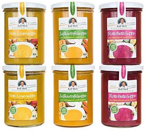 Detox Suppenfasten nach Ralf Moll 6x380ml | Abnehmen vegan lecker Entschlacken Detox | Rote-Bete Süßkartoffel Rote-Linsen